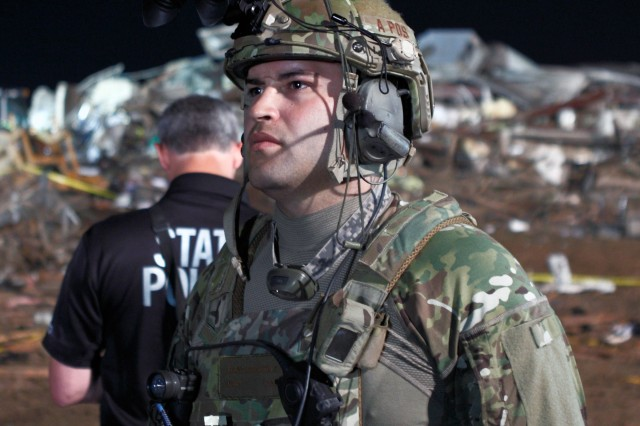 Oklahoma National Guard Soldiers and Airmen respond to a devastating tornado that ripped through Moore, Okla., May 20, 2013.