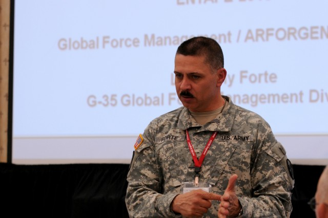 Lt. Col. Tony Forte, chief of global force management, United States Army Reserve Command, gives USARC's overview of the realignment of forces at the Engineer TEC-ASCC Planning Exercise, May 17, 2013, Orlando, Fla.