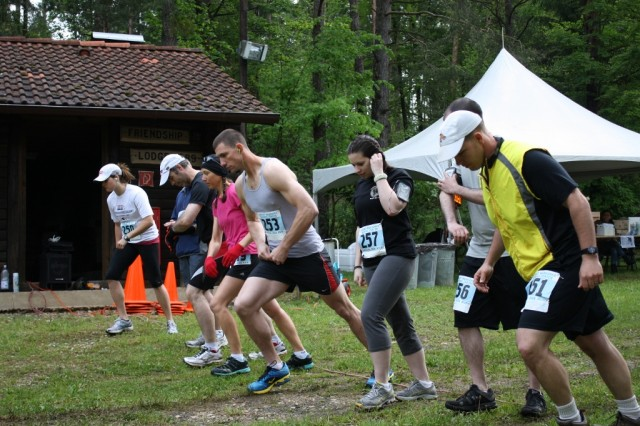 Runners ready themselves for the start of the 2013 Trail Run in Hohenfels, May 18.