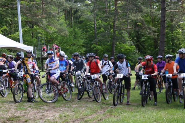 Over 30 riders await the start of the Hohenfels 2013 Mountain Bike Race on Saturday, May 18.