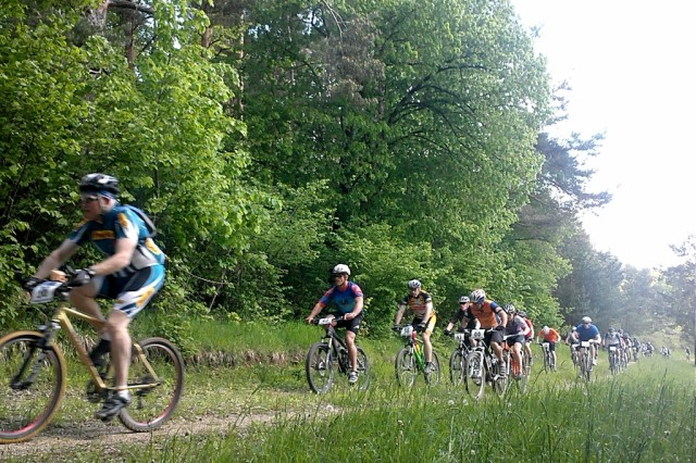 A group of riders work to conquer the trails of Hohenfels in the 2013 Mountain Bike Race.