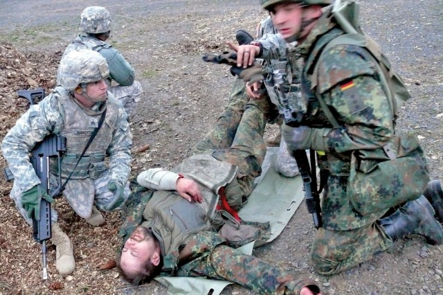 German and American Soldiers practice combat lifesaving skills during the weeklong training event.