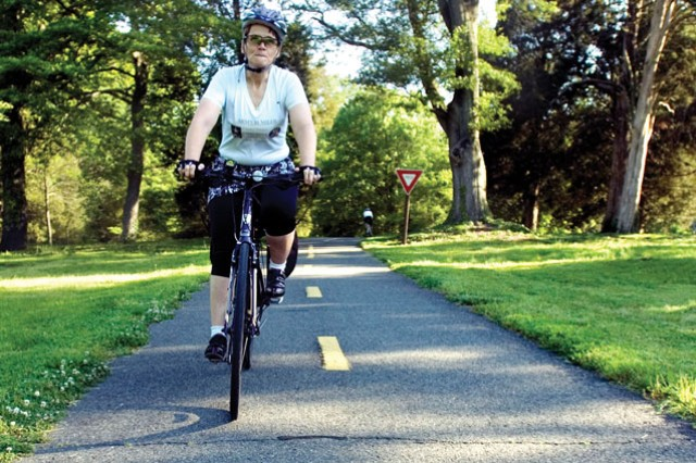 Elizabeth Willis rides her bicycle along the Mount Vernon Trail in the Fort Hunt area of Fairfax County, Va. on Bike To Work Day on Friday  Willis rides her bicycle from her home in Fort Washington, Md., to Fort Belvoir, Va., every day.