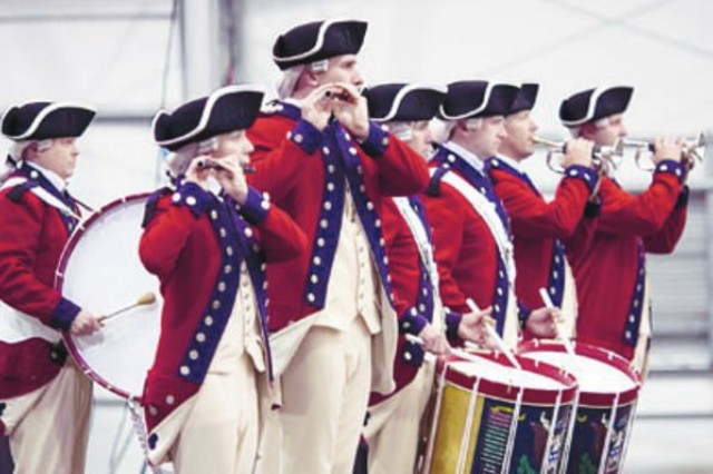 The U.S. Army Old Guard Fife and Drum Corps perform during the installation's Memorial Day Remembrance and 27th Annual Massing of the Colors. The two-hour event also included a 50-minute concert by the Concert Band and Soldiers' Chorus of the U.S. Army Field Band.