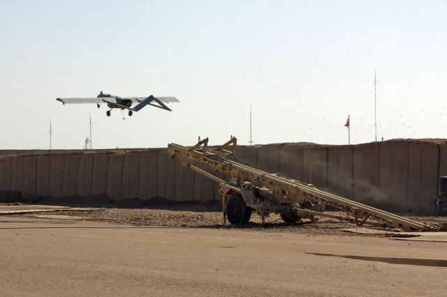 An unmanned aerial vehicle launches off in support of operations for the 3rd Stryker Brigade Combat Team, 2nd Infantry Division.