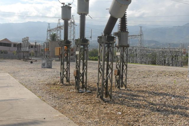 Damage to a power transmission plant substation is one of many challenges that face crews trying to restore electricity to the local area following the recent earthquake. (U.S. Army photo by Sgt. Richard Andrade)