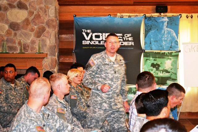 Command Sgt. Maj. Mark Oldroyd, Fort Drum garrison senior enlisted adviser, addresses Better Opportunities for Single Soldiers representatives during the 2nd Annual BOSS Conference held May 15-16 on post.
