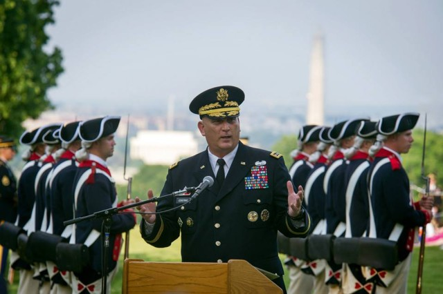 U.S. Army Chief of Staff Gen. Ray Odierno gives his remarks as the host for the Twilight Tattoo Salute at Whipple Field in Joint Base Myer-Henderson Hall, Va., May 22, 2013. Odierno presented the Outstanding Civilian Service Medal to Gary Sinise, Kathleen Gagg, Kenneth Fisher, Deborah Tymon, and Ryan Blanck. (U.S. Army photo by Staff Sgt. Teddy Wade/ Released)
