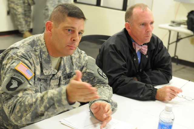 Col. Gregory W. Robinette (left), commander of the Ohio National Guard's 371st Sustainment Brigade out of Springfield, Ohio., briefs visiting Ohio Congressman Mike Turner (right), role-played by Philip D. Calahan, First Army Division West's deputy director of operations, during the unit's Culminating Training Event at North Fort Hood, Texas. The 371st is training for its upcoming deployment to Kuwait where it will provide all the food, fuel, ammunition, and other supplies to all combat forces in Afghanistan in support of Operation New Dawn and Operation Enduring Freedom in Kuwait. (Photo by Michael M. Novogradac, Division West Public Affairs)