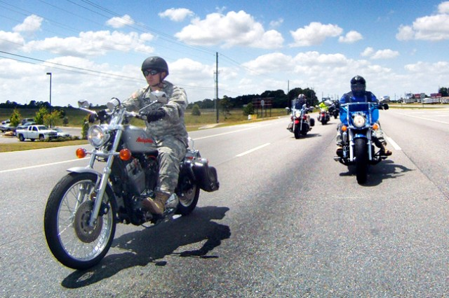 Fort Rucker Soldiers cruise on U.S. Highway 231 in Dothan during a group ride and Army Substance Abuse Program training May 17. About 50 motorcyclists participated in the group ride, which included training on the prevention of substance abuse at Westgate Park.
