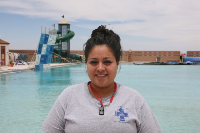 Cassandra Aspeytia, a 10-year lifeguard on Fort Huachuca, is one of several lifeguards who staff Barnes and Irwin Pools. She will also teach swim classes to youth this summer.