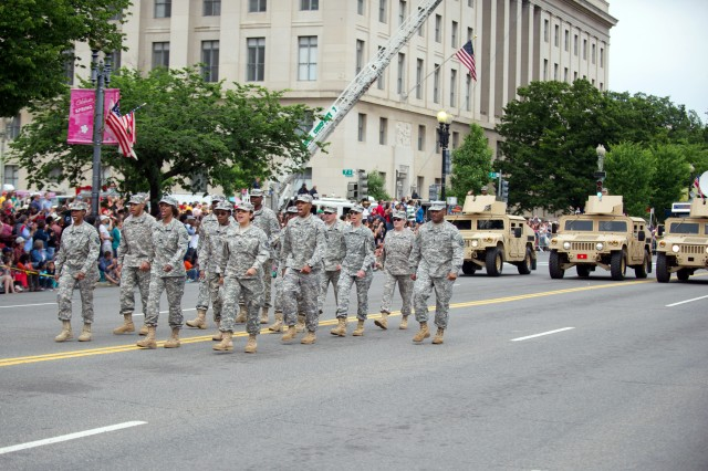U.S. Army Soldiers returning from a combat deployment participate in the National Memorial Day Parade in Washington, D.C., May 27, 2013. (U.S. Army photo by Staff Sgt. Teddy Wade/ Released)