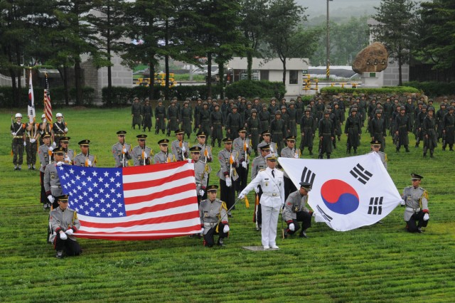 The Republic of Korea Army's 25th Infantry Division Honor Guard performs at a ceremony to honor the Korean War veterans from the Nevada Outposts Battle, at Yangju, South Korea, May 28, 2013.