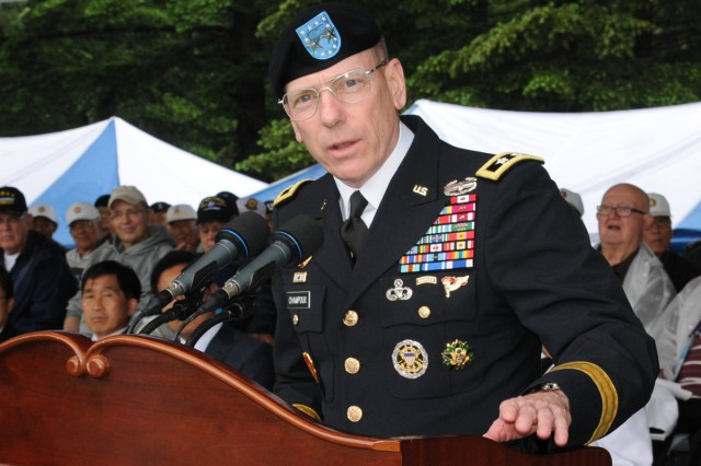 Maj. Gen. Bernard S. Champoux speaks at the inaugural ceremony to mark the 60th anniversary of the Nevada Outposts Battle, at Yangju, South Korea, May 28, 2013.