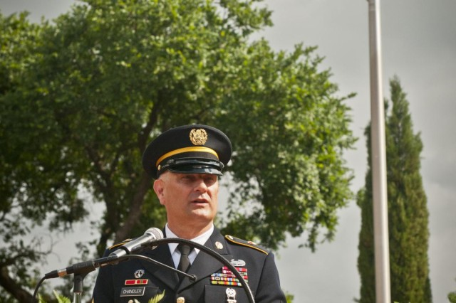 Sgt. Maj. of the Army Raymond F. Chandler III addresses the audience at the Memorial Day ceremony at the Georgetown-Williamson County, Texas, Veterans Memorial Plaza, May 27, 2013.