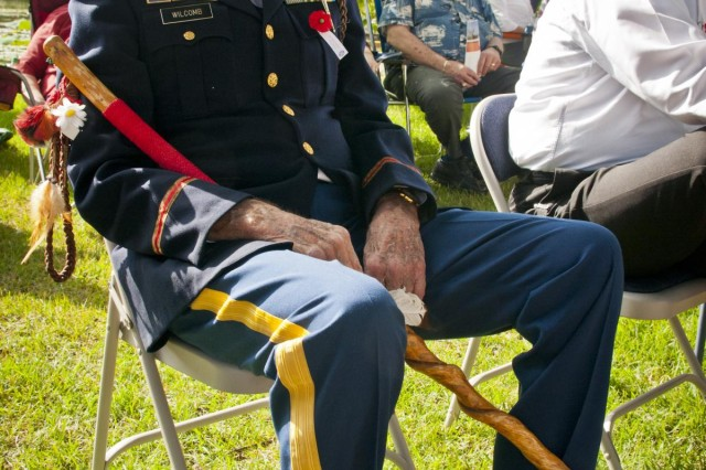 Retired U.S. Army Col. Gerald Wilcomb, who served in Korea and Vietnam with the 5th Infantry Division and 11th Field Artillery Battalions during his 30-year career, waits patiently for the opening of the Memorial Day ceremony at the Georgetown-Williamson County, Texas, Veterans Memorial Plaza, May 27, 2013. Veterans from every conflict since World War II were in attendance alongside dignitaries including the Sgt. Maj. of the Army Raymond F. Chandler III.