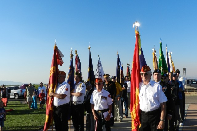 Veteran color guard members line up for the presentation of veterans organizations' colors at Southern Arizona Veterans Memorial Cemetery during the Memorial Day service on Monday. Sixteen different groups participated.