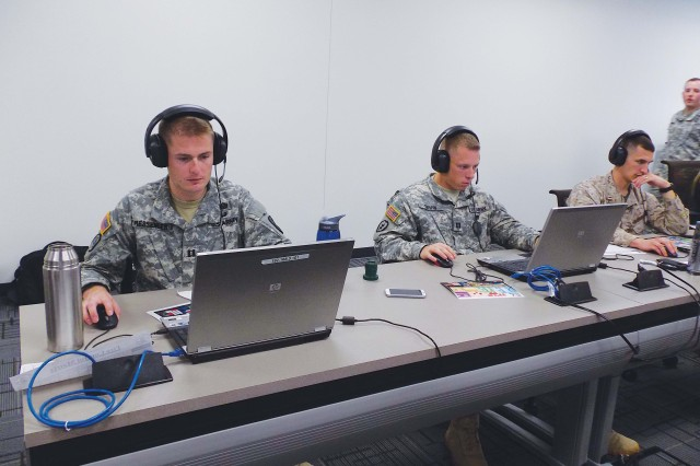 Caroline Keyser Students in Maneuver Captains Career Course Class 3-13 participate in virtual collaboration with students in the Aviation Captains Career Course at McGinnis-Wickam Hall May 22.
