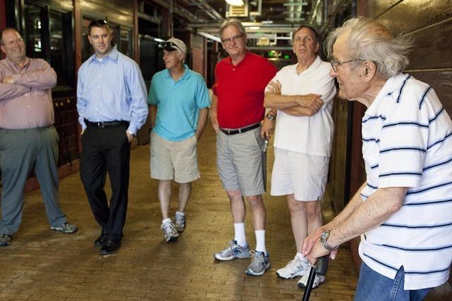 "Anthony ""Tony"" Vernille talks about his time stationed at Fort Myer in the pre-World War II years while visiting the Caisson Stables on Joint Base Myer-Henderson Hall May 22, 2013."