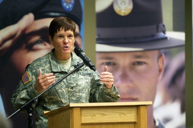Col. Maria R. Gervais addresses the audience after accepting the position of deputy commanding officer, U.S. Army Cadet Command and Fort Knox.