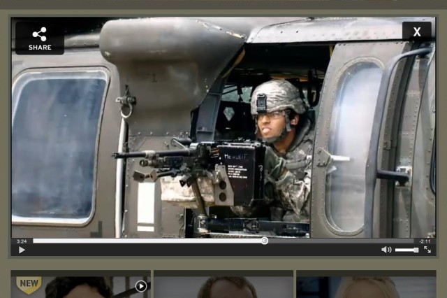 """A screen grab from the """"Starting Strong"""" website shows 19-year-old Julian Chavez firing a machine gun from a helicopter on the ground at Joint Base Lewis-McChord, Wash. Chavez is seen on the bottom of the screen, next to a photo of Erich from episode two, and Courtney from episode three."""