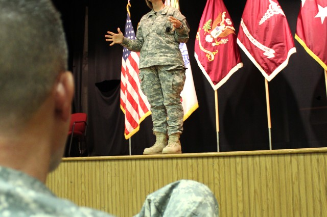 Horoho addresses U.S. Army Medical Research and Materiel Command staff at a town hall meeting at Fort Detrick, Md., May 30, 2013.
