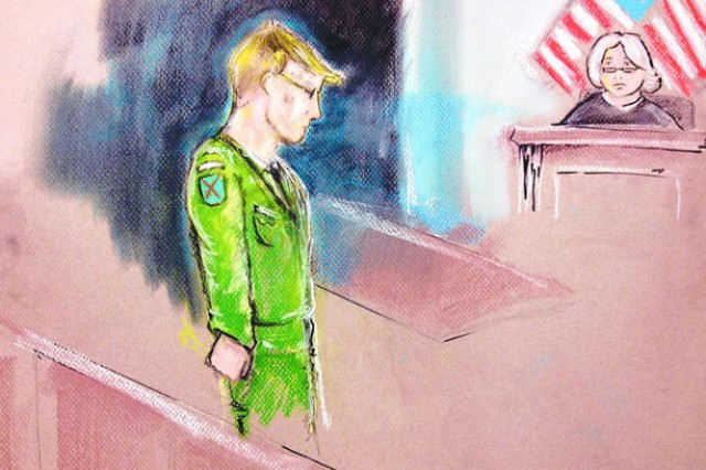 Pfc. Bradley Manning, illustrated here, is shown being arraigned in a court room on Fort Meade, Md., Feb. 23, 2012. His actual trial began on Fort Meade, June 3, 2013.