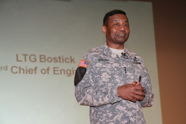 Lt. Gen. Thomas P. Bostick, the chief of engineers, discusses USACE priorities with Europe District personnel during a town hall May 13 in Wiesbaden, Germany. He said support to the warfighter remains a critical part of the Corps of Engineers mission.
