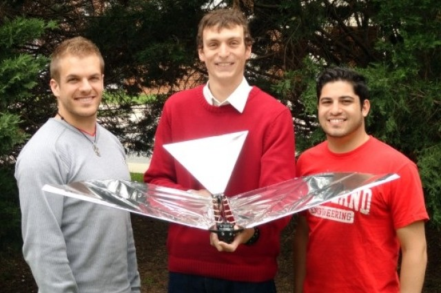 ARL's John Gerdes, center, teamed with University of Maryland fellow graduate student researchers Luke Roberts and Ariel Perez-Rosado to develop the Robo-Raven, a robotic bird that glides, soars and flaps like a real bird.