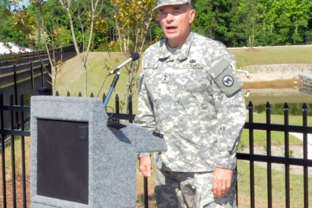 Maj. Gen. Gill Beck, commander of the 81st Regional Support Command, speaks during the ribbon cutting ceremony for the new Army Reserve center in Knightdale, North Carolina on June 1. The new facility will be home to the 518th Sustainment Brigade, 346th Engineering Clearance Company, 1006th Quartermaster Company, 492nd Brigade Signal Company and the 479th Engineering Clearance Platoon.