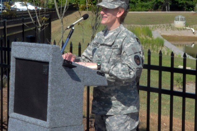 Col. Terri Duenas, Commander of the 518th Sustainment Brigade, speaks during the ribbon cutting ceremony for the new Army Reserve center in Knightdale, North Carolina on June 1. The new facility will be home to the 518th Sustainment Brigade, 346th Engineering Clearance Company, 1006th Quartermaster Company, 492nd Brigade Signal Company and the 479th Engineering Clearance Platoon.