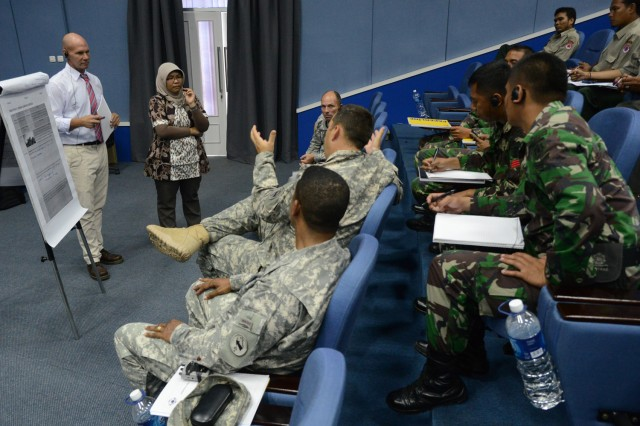 Soldiers of U.S. Army Pacific Contingency Command Post, Tentara Nasional Indonesia and members of Non-Governmental Agencies participate in joint discussions during the fourth-annual Pacific Resilience Disaster Relief Exercise and Exchange, held at the International Peace and Security Center in Sentul, Indonesia, June 3, 2013. During the table-top exercise participants respond to a scenario in which an earthquake and subsequent tsunami have devastated Padang, an area in Indonesia that has had to deal with real disasters like this in the recent past.