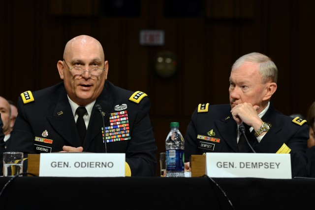 Army Chief of Staff Gen. Ray Odierno tells Congress that sexual assault and sexual harassment will not be tolerated in the Army, as Gen. Martin Dempsey, chairman of the Joint Chiefs of Staff, listens. Odierno said in the June 4, 2013, hearing that the Army is taking steps to address the problem and prevent future instances of assault and harassment.