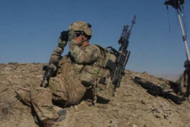 Spc. Adam Day, formerly of U.S. Army Europe's Company B, 9th Engineer Battalion, takes part in a patrol during the battalion's recent deployment to Afghanistan. Day was named this year's Engineer Soldier of the Year for the active U.S. Army.