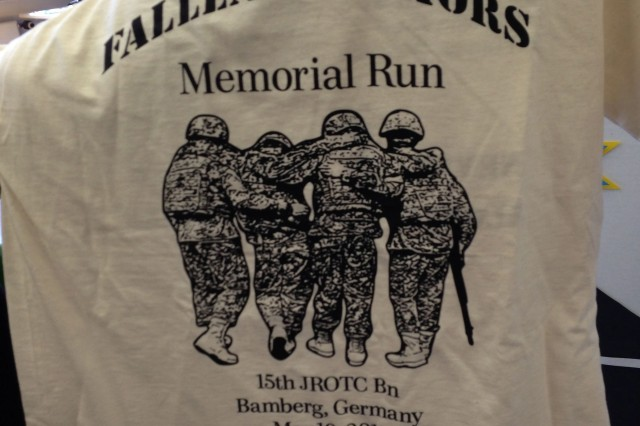 The JROTC cadets of USAG Bamberg honored the garrison's fallen heroes May 10 by holding a 12-hour memorial relay run. The cadets posed to create the picture on the T-shirt.