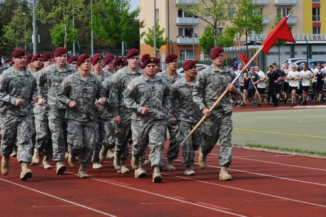 Units of Soldiers at U.S. Army Garrison Bamberg showed solidarity May 10 during a memorial run honoring four Soldiers. The run was organized by the 15th JROTC Battalion.