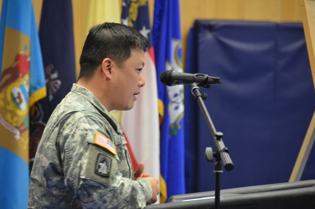 Command Sgt. Maj. Joseph J. Chang, command sergeant major of 412th Aviation Support Battalion, outlines the importance of learning the about the culture and heritage of fellow Soldiers at U.S. Army Garrison Ansbach and 412th's Asian American and Pacific Islander Heritage observance May 31.