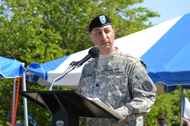 Lt. Col. Todd E. Bajakian, incoming commander of 3rd Battalion, 85th Mountain Infantry Regiment, Warrior Transition Battalion, addresses audience members during a change of command ceremony May 31 at Sexton Field.