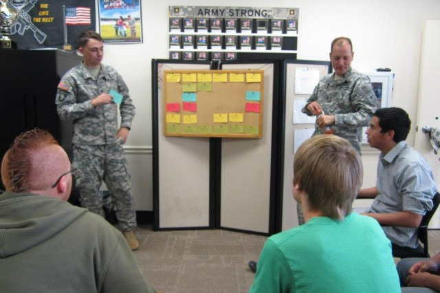 "Sgt. Zachary Terry and Sgt. 1st Class Alejandro Velasco and lead Future Soldiers in a game of ""Task List Jeopardy."""