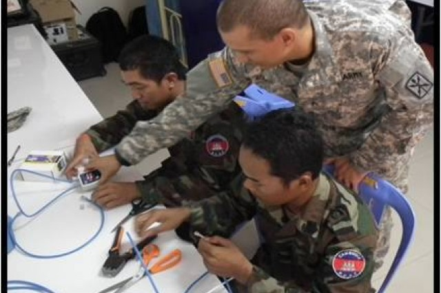 Sgt. Ramon Rodriguez instructed the RCAF S6 team on how to install RJ45s on CAT 5 cable and to test their work.