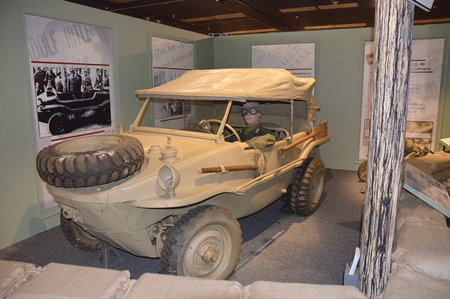 "The Schwimmwagen is a German ""floating car"" that is part of the ""Subject to Recall"" Ordnance temporary exhibit at the Quartermaster Museum. A grand opening ceremony "" co-hosted by Col. John O'Neil, Quartermaster General, and Col. Jack Haley, the new Chief of Ordnance "" is set for June 17, 10:30 a.m. at the QM Museum."