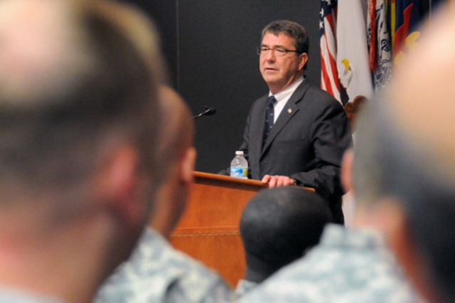 Deputy Secretary of Defense Ashton B. Carter speaks to Soldiers and Department of Army civilians during a visit to Fort Rucker to learn about flight school and how the installation plays a vital and economic role in Alabama.