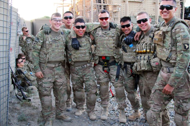 Soldiers with 2nd Platoon, Fox Company, 2nd Battalion, 506th Infantry Regiment, 4th Brigade Combat Team, 101st Airborne Division, take a second to pose for a picture before going on a mission in Khowst Province, Afghanistan, on May 30, 2013. (U.S. Army photo by Sgt. Justin A. Moeller, 4th Brigade Combat Team Public Affairs)
