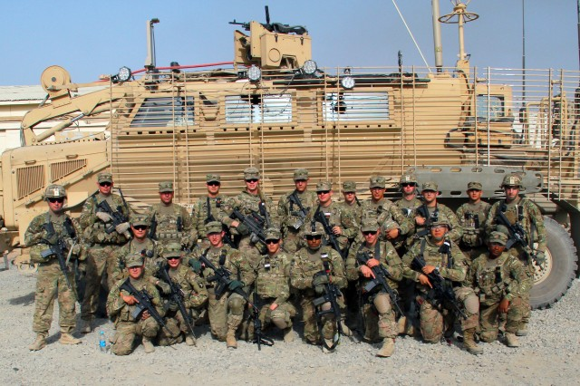"KHOWST PROVINCE, Afghanistan "" Soldiers with 1st Platoon, Company A, 4th Brigade Special Troops Battalion, 4th Brigade Combat Team, 101st Airborne Division, pose for a picture prior to going out on a route clearance patrol on May 25, 2013. (U.S. Army photo by Sgt. Justin A. Moeller, 4th Brigade Combat Team Public Affairs)"