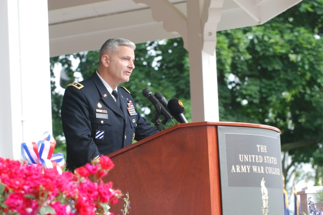 Maj. Gen. Tony Cucolo, commandant of the U.S. Army War College, speaks to the class for one last time.