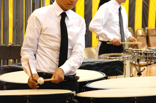 Vicenza High School student musicians keep the beat during the VHS Spring Concert May 29 in Vicenza, Italy.