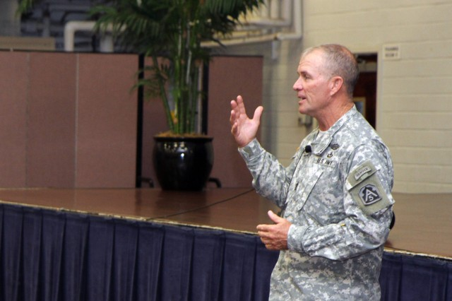 "FORT SAM HOUSTON, Texas "" Command Sgt. Maj. Hu Rhodes, U.S. Army North (Fifth Army), and senior enlisted leader for Fort Sam Houston and Camp Bullis, tells his noncommissioned officers to ""practice their leadership"" during a NCO professional development session May 30 at the Warfighter and Family Readiness Center. He built the discussion around topics including suicide prevention, sexual assault and harassment prevention, and the expected effects of sequestration. ""The things you know need to be done "" do it,"" Rhodes told the gathered NCOs. ""You know how to lead. And, if you don't go lead those Soldiers, then you will fail those Soldiers."""