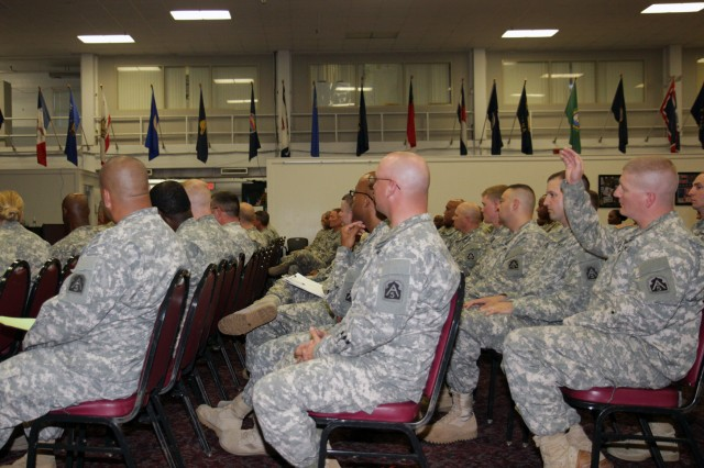 "FORT SAM HOUSTON, Texas "" Noncommissioned officers from U.S. Army North (Fifth Army) participate in a discussion concerning the prevention of suicide with Command Sgt. Maj. Hu Rhodes, Army North, during a NCO professional development session May 30 at the Warfighter and Family Readiness Center. Rhodes, the senior enlisted leader for Fort Sam Houston and Camp Bullis, built the discussion around topics including suicide prevention, sexual assault and harassment prevention, and the expected effects of sequestration."