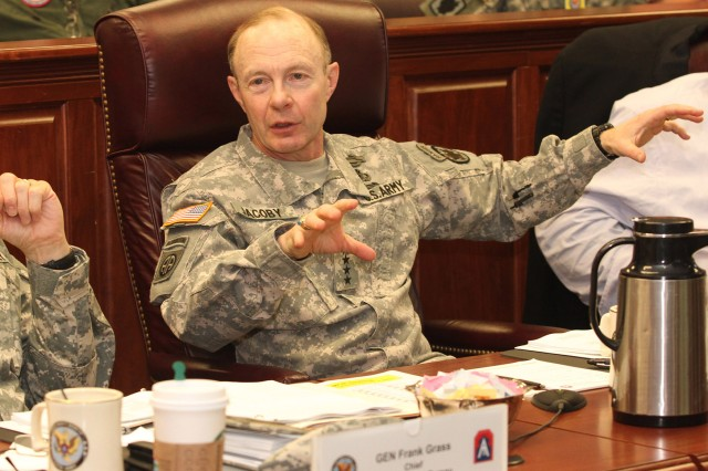 Gen. Charles Jacoby Jr., commanding general, North American Aerospace Defense Command and U.S. Northern Command, discusses cascading effects during a major disaster at the Complex Catastrophe Tabletop Exercise, held June 5, 2013, at Army North in the historic Quadrangle at Fort Sam Houston, Texas.