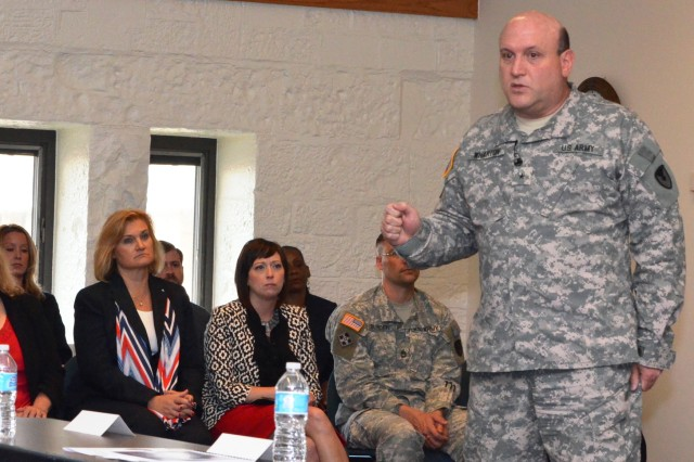 Brig. Gen. John Wharton, commanding general, ASC, and senior mission commander of Rock Island Arsenal, addresses participants in the graduation ceremony for Journey to Leadership II held June 7 at RIA. (Photo by Liz Adolphi, ASC Public Affairs)
